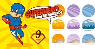 Vektor för tecken för toppen hjälte för Superherobakgrundsuppsättning Arkivbilder