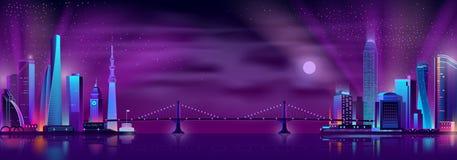 Vektor för tecknad film för broförbindande stadsområden vektor illustrationer