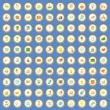 vektor för tecknad film för 100 affärssymboler fastställd Royaltyfri Bild