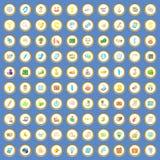 vektor för tecknad film för 100 affärssymboler fastställd Fotografering för Bildbyråer