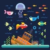 Vektor för tecknad film för fiskakvariummanet Vektor Illustrationer