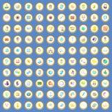 vektor för tecknad film för 100 symboler för appell tjänste- fastställd Arkivbilder