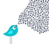 vektor för text för ställe för illustration för fågelkorthälsning din sjungande Royaltyfria Bilder