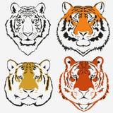 Vektor för tigerlogouppsättning royaltyfri illustrationer