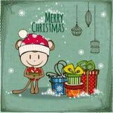 vektor för tree för fluffiga prydnadar för hälsning för jul för bakgrundsbokehkort naturliga röd Arkivfoto