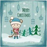 vektor för tree för fluffiga prydnadar för hälsning för jul för bakgrundsbokehkort naturliga röd Royaltyfri Fotografi