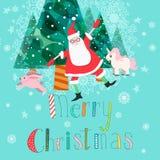 vektor för tree för fluffiga prydnadar för hälsning för jul för bakgrundsbokehkort naturliga röd Royaltyfria Bilder