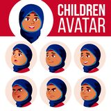 Vektor för unge för arabisk muslimsk flickaAvatar fastställd Högstadium Vänd sinnesrörelser mot Ansiktsbehandling folk Ungar real vektor illustrationer