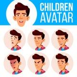 Vektor för unge för asiatisk pojkeAvatar fastställd Högstadium Vänd sinnesrörelser mot Ansiktsbehandling folk Ungar realitet Head stock illustrationer