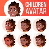 Vektor för unge för flickaAvataruppsättning _ Afro- amerikan Högstadium Vänd sinnesrörelser mot Ansiktsbehandling folk Aktiv gläd stock illustrationer