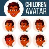 Vektor för unge för indisk pojkeAvatar fastställd Högstadium Vänd sinnesrörelser mot Ansiktsbehandling folk Aktiv glädje Head ill stock illustrationer