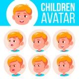 Vektor för unge för pojkeAvataruppsättning dagis Vänd sinnesrörelser mot Emotionellt ansikts-, folk Gyckel som är gladlynt annons royaltyfri illustrationer