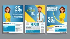 Vektor för uppsättning för affisch för affärsmöte Affärsman och affärskvinna Inbjudan och datum Konferensmall Format A4 royaltyfri illustrationer