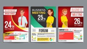 Vektor för uppsättning för affisch för affärsmöte Affärsman och affärskvinna Inbjudan och datum Konferensmall Format A4 stock illustrationer