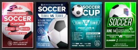 Vektor för uppsättning för affisch för fotbolllek Modern fotbollturnering Design för sportstång, barbefordran sport för fotboll f vektor illustrationer