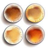 Vektor för uppsättning för hantverkölexponeringsglas ovanför sikt Lager Amber Ale som är kraftig Bryggeribanerdesign Isolerat rea Royaltyfri Bild