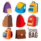 Vektor för uppsättning för skolapåse Olika typer, sikt Skolbarn ungeryggsäcksymbol Utbildningstecken tillbaka skola till isolerat stock illustrationer