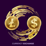 Vektor för utbyte för Digital valutapengar Litecoin dollar Fintech Blockchain Guld- mynt med den Digital strömmen royaltyfri illustrationer