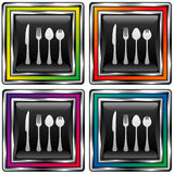 vektor för utensils för knappsymbolsfyrkant Vektor Illustrationer