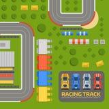 Vektor för väg för kurva för racerbilsportspår Bästa sikt av symboler för konstruktör för bilsportkonkurrens Strömkretstrans. royaltyfri illustrationer