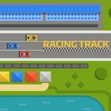 Vektor för väg för kurva för racerbilsportspår Bästa sikt av symboler för konstruktör för bilsportkonkurrens Strömkretstrans. vektor illustrationer