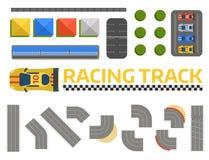 Vektor för väg för kurva för racerbilsportspår Bästa sikt av symboler för konstruktör för bilsportkonkurrens Strömkretstrans. stock illustrationer
