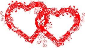vektor för valentin för ramgrungehjärta Royaltyfria Bilder
