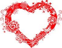 vektor för valentin för ramgrungehjärta Arkivbild