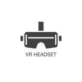 Vektor för virtuell verklighethörlurar med mikrofonsymbol, fast logoillustration, pi vektor illustrationer