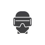 Vektor för virtuell verklighethörlurar med mikrofonsymbol, illus för logo för vrexponeringsglas fast vektor illustrationer