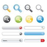 Vektor för website för beståndsdelar för design för symbol för sökandeknappsymbol Arkivbilder
