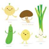 Vektor för zucchini för purjolök för potatis för lök för champinjon för Shiitake för uppsättning för grönsaktecknad film gullig Royaltyfri Fotografi