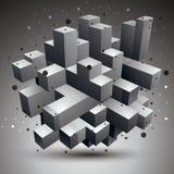 Vektor försvårat 3d diagram, modern stil fo för digital teknologi Royaltyfria Bilder