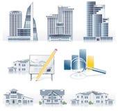 Vektor führte Architekturikonenset einzeln auf Lizenzfreies Stockfoto