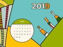 2019 vektor f?r samtida konst f?r april kalender abstrakt Skrivbord sk?rm, skrivbords- m?nad 04,2019, f?rgrik 2019 kalendermall,  vektor illustrationer