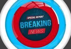 Vektor-Fahne der letzten Nachrichten auf helle Erdglühendem Kugel-Hintergrund lizenzfreie abbildung