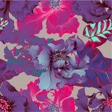 Vektor Fantasieblumen - dekorative Zusammensetzung Blumen mit den langen Blumenblättern tapete Nahtlose Muster vektor abbildung