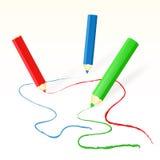 Vektor farbige Bleistiftzeichnungslinien Stockfoto