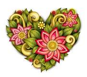 Vektor farbige Blumenzusammensetzung in der Herz-Form vektor abbildung