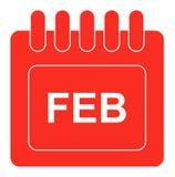 Vektor februari på månatlig kalendersymbol stock illustrationer