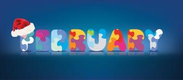 Vektor FEBRUARI som är skriftlig med alfabetpusslet med julhatten Arkivbild