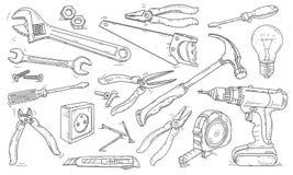 Vektor Federzeichnungsikonen, verschiedene Werkzeuge für Reparaturen um das Haus lizenzfreies stockfoto