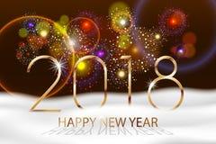 Vektor-Feiertags-Feuerwerks-Hintergrund Guten Rutsch ins Neue Jahr 2018 Würzt Grüße, bunte Feuerwerke entwerfen mit weißem Schnee Stockbild