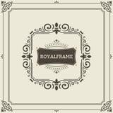 Vektor-Feldschablone Weinleseverzierungs-Grußkarte Flourishes verzieren Retro- königliche Luxuseinladung, Zertifikat Stockfoto