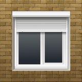 Vektor-Fenster mit Rollen-Fensterläden auf einer Backsteinmauer lizenzfreie abbildung