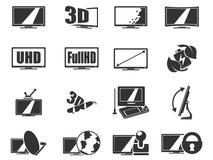 Vektor Fernsehfunktionen und -spezifikationen Stockbild