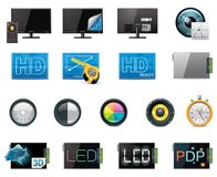 Vektor-Fernsehmerkmals- und -spezifikationsikonenset Stockbild