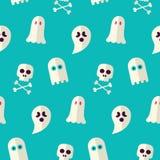 Vektor-flach nahtloser furchtsamer Geist und Geist-Halloween-Muster Lizenzfreie Stockfotografie