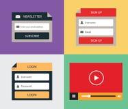 Vektor-flache Form (Anmeldung, melden sich, Newsletter und Video-Player) an Lizenzfreie Stockfotografie