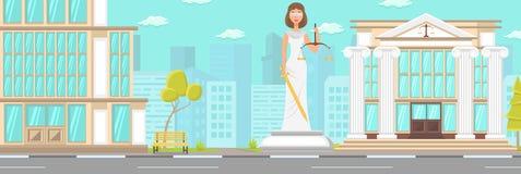 Vektor-flache Gebäude-Fassaden-Gerichts-Statue in die Stadt lizenzfreie abbildung